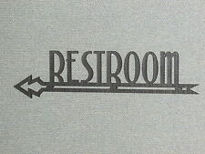 RESTROOM ART DECO STYLE WOOD LEFT POINTING ARROW SIGN