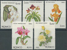 MONACO 1990 N°1710/1714** FLEURS, ROSES,ORCHIDEE,IRIS, FLOWERS/ROSES/ORCHIDS/MNH