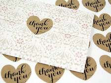 36 x Thank You Heart Kraft Stickers Wedding Favours Vintage Craft Gift Birthday