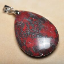 """Extremely Red Natural Bloodstone Jasper 925 18K WG Clasp 1.5"""" Pendant #P12695"""