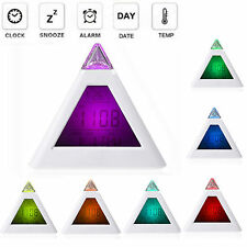 7 LED Pyramid Color Changing Kids Digital LCD Desk Alarm Clock Date Temperature
