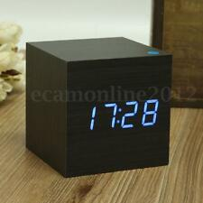 USB Wood Cube Blue LED Digital Alarm Clock Voice Control With Temperature Home