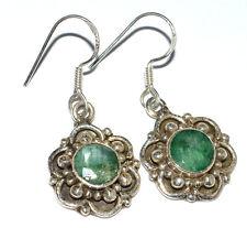 Indian Emerald 925 Sterling Silver Earrings Jewelry JJ2374