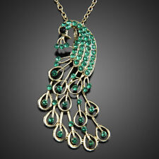 Fashion Bronze Style Peacock Green Crystal Chain Pendant Necklace Retro Jewelry