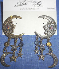 Kirks Folly Crystal Crescent Moon & Stars Dangle Post Earrings-Antique Brasstone
