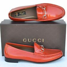 GUCCI New sz 37 - 7 Designer Horsebit Leather Womens Flats Loafers Shoes Orange