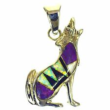 SUGILITE ONYX & VIVID OPAL INLAY COYOTE PENDANT STERLING SILVER WOLF REVERSIBLE