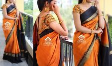 Bollywood Style Orange Art Silk Cotton Saree with Banglori silk resham Blouse .