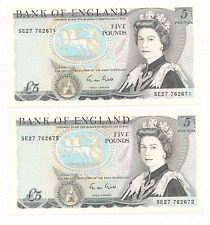 2 x Bank of England Five Pounds Bank Note     Series Bank Note    1988-91