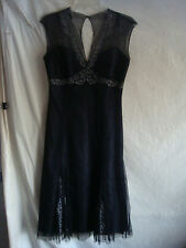AUTH JONES NEW YORK BLING 100% SILK EMBROIDERY DRESS BLACK SZ 4 RETAIL $84