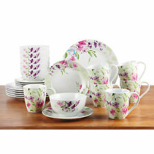 24 Piece Dinnerware Kitchen Set Floral Porcelain Dinner Side Plates Mugs Bowls