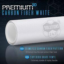 """3D White Carbon Fiber Matte Vinyl Wrap Bubble Free Air Release 12"""" x 60"""" In Roll"""