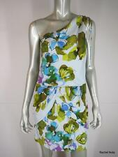 NWT $328 ALI RO 6 Silk Blue Multi Floral One-Shoulder Ruched Cocktail Dress NEW