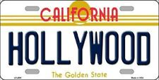 HOLLYWOOD California State Background Metal Novelty License Plate