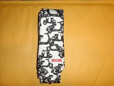 MOSCHINO MEN'S TIE NEW MADE IN ITALY 100% SILK SCOOTERS BLACK WHITE