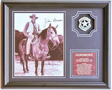 Gunsmoke Matt Dillon signed photo w/ Marshall badge and saddle leather plaque
