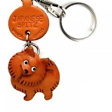 Japanese Spitz Handmade 3D Leather Dog Keychain *VANCA* Made in Japan #56738