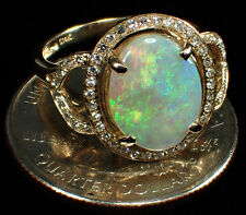 LARGE GEM GRADE AUSTRALIAN OPAL Ring- 12x10 mm Diamonds/14k Gold SZ 6.5-8.0 2.29