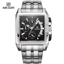 MEGIR 2018 Brand Military Sports Chronograph Watch with Steel Belt For Men