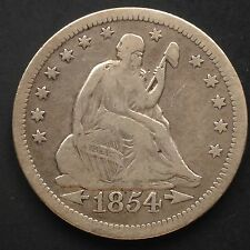 USA 1854 O Seated Liberty Quarter Dollar 25 Cent New Orleans Silber Selten 3848