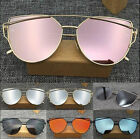 Womens Oversized Cat Eye Fashion HOT Flat Lens Mirror Metal Frame Sunglasses