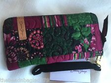 NEW DONNA SHARP CANTERBURY PATCH ZIPPERED WALLET Cranberry Pink Green