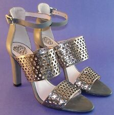 Vince Camuto grey pewter metallic ankle strap perferated pump heel shoe 9 M NWOB
