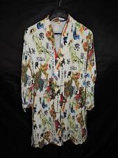 Tianello 0X Creek Duster Tunic Shirt Cream Japanese Samurai Print Red Yellow 0X