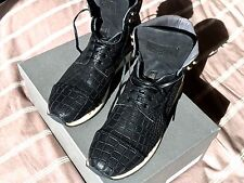 Alexander McQueen Black Crocodile Leather High Top Sneakers Size 41 (NEW)