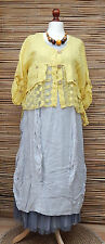LAGENLOOK LINEN AMAZING BEAUTIFUL LACE QUIRKY BOHO JACKET*YELLOW*SIZE L-XL
