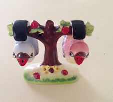 Vintage 1940's Baby Birds Hanging in an Apple Tree Salt and Pepper Shakers