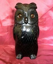 Distinctive Art Deco Style TOBACCO JAR Figural Wood Carved OWL – c. mid-20th C