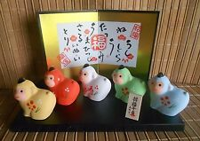 NIB JAPANESE NEW YEAR OF THE MONKEY SARU 2016 (5) COLORFUL CERAMIC FIGURINES #68