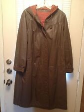 VINTAGE WOMEN'S GENUINE LEATHER COAT WITH HOOD KNEE LENGTH SIZE 18 TAUPE COLOR