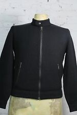 Prada Men's Black Wool and Cashmere Full Zip Bomber Jacket with Leather Trim 50