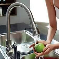 """16"""" Pull-Out Brushed Chrome Kitchen Sink Faucet Spray Swivel One Handle Local US"""