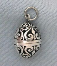 Sterling Silver Filigree Egg Vinaigrette Prayer Locket Pendant Aromatherapy