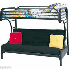 Twin over Full Bunk Beds Futon Kids Bed Black Metal Furniture Convertible Dorm