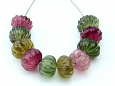 Exquisite Natural Tourmaline Hand Carved Melon Rondelle Gemstone Beads (1065)