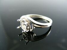 5682 RING SETTING STERLING SILVER, SIZE 5.75, 6X4MM OVAL STONE