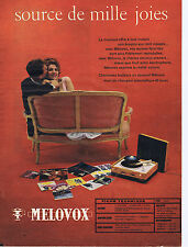 PUBLICITE ADVERTISING 064 1959 MELOVOX  Electrophone