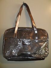 Joan Boyce NWOT Travel Makeup Jewelry Accessory Bag Purse Silver Sequin Bling