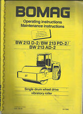 Bomag BW 213 D 2, PD 2, Ad 2 Vibratory roller Operating & Maint. Instructions