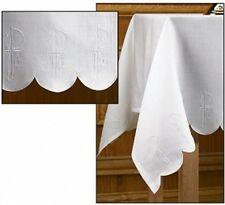 "Embroidered Schiffi Linen Chi Rho & Alpha Omega Altar Frontal, 52 x 96"" Long"
