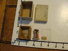 tiny wooden people figures, in wood box w/ glass, in paper box