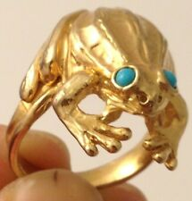 GOLD PLATED TURQUOISE TONE DETAILED FROG SIZE 9 RING 010317h7ZCC