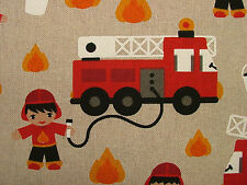 Fireman Fire Engine Linen Look Boys Childrens Fabric Curtain Upholstery Quilting