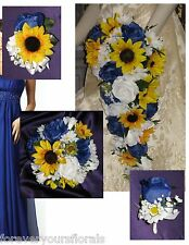 Country Wedding Flowers, Royal Blue Sunflower Bouquet, Sunflower Bridal Bouquet