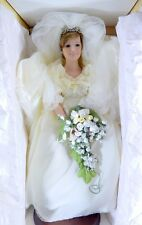 "BOXED DANBURY MINT PRINCESS DIANA WEDDING BRIDE DOLL 21"" COA"