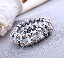 Big Silver Sparkly Crystal Beads & Silver Half Rings Fashion Bracelet For Women